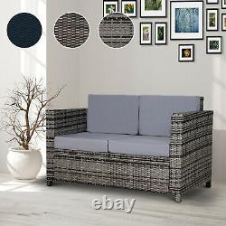 Rattan Garden Weave Wicker 2-Seater Sofa with Cushion Black/Brown/Grey