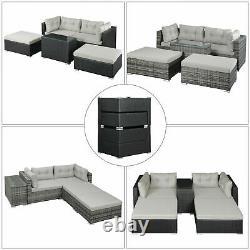 Rattan Garden Wicker Outdoor Sun Lounger Sofa Furniture Set Cube Corner Table