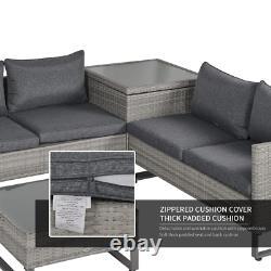 Rattan Lounge Set Grey Corner Furniture Garden Patio Glass Table Wicker Sofa
