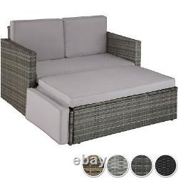 Rattan Lounge Sofa Double Chair Furniture Stool Set Cushion Garden Seating New