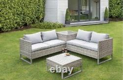 Rattan Outdoor Corner Sofa Patio Set With 4 Seats, Table, Cushions & Storage box
