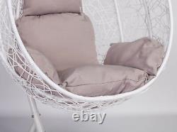 Rattan Swing Patio Garden White Weave Hanging Egg Chair & Cushion Outdoor Indoor