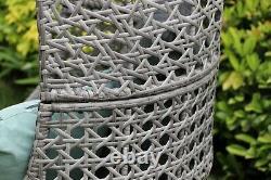 Rattan Wicker Cocoon Double Egg Chair Floor Standing Garden or Indoors Grey