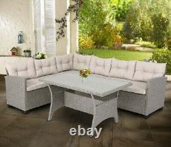 Rattan corner Lounge, patio, outdoor, conservatory garden furniture Set Grey/Beige