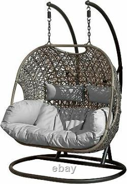 Rattan egg Double Chair Hanging Garden Furniture outdoor Swing Grey Cushion UK