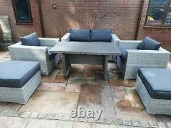 Rattan garden furniture set kettler palma table