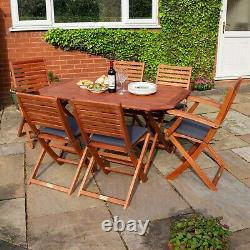 Rowlinson Plumley Garden Dining Table Chairs Outdoor Wood 6 Seater Grey Cushions
