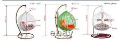 SINGLE Hanging Rattan Swing Patio Chair Egg with Cushion Indoor & Outdoor Cocoon