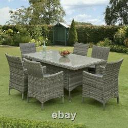Sarasota Rattan Garden Furniture Dining Set Rectangular 6 Seat Wicker Alu Frame