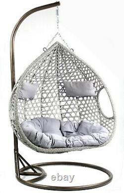 Savani Rattan Swing Premium Double Hanging Egg Chair Garden Indoor Outdoor Grey