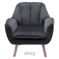 Scallop Oyster Back Velvet Cushioned Seats Tub Armchair Cuddle Chair Lounge Sofa