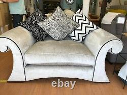 Silver grey cuddle chair, large chair fabric cushion back chair ex display