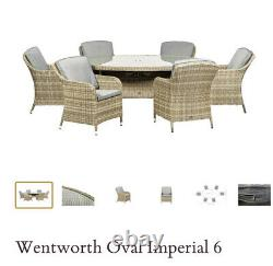 Six seater deluxe oval Rattan garden furniture set