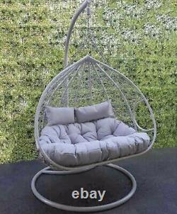 Stunning Double Hanging Egg Chair With Cushions- with June Delivery