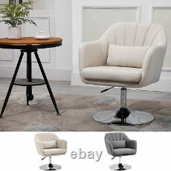 Stylish Retro Linen Swivel Tub Chair with Steel Frame Cushion Wide Seat