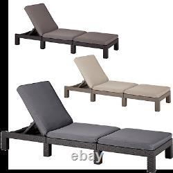 Sun Lounger Deck Chair Sunbed Keter Daytona Reclining Cushions Outdoor Solid UK