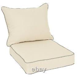 Sunbrella Beige with Grey Indoor Outdoor Deep Seat Pillow Chair Cushion Set