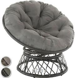 Swivel Chair Wicker Rattan Bowl-Shaped Garden Seat Round Cushion Steel Outdoor