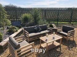 Teak garden furniture sofa set with coffee table
