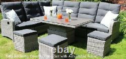 Tulla Reclining Corner Lounge/Dining Set Height Adjust Table withCeramic Top