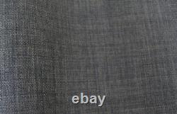 Upholstery fabric Linen look dark grey textured curtain cushion chair material