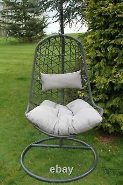 Verona Hanging Garden Chair Wicker Egg Garden Chair- in Grey- RETURNS