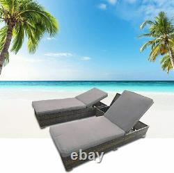 Vintage Rattan Lounge Sofa Double Chair Furniture Stool Set Cushion Garden Seat