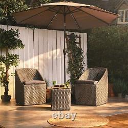 VonHaus Rattan Bistro Set Stacking Wicker Weave Outdoor Garden Furniture