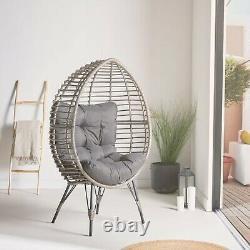 VonHaus Rattan Egg Chair Hand Woven Wicker Cocoon Teardrop Outdoor or Indoor