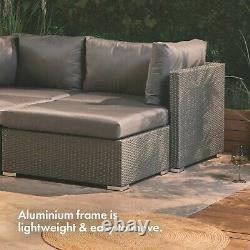 VonHaus Rattan Garden Furniture Set Multi Positional Outdoor Sun Lounger