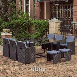 11 Pièces Rattan Garden Furniture Set Grey Cushion Cube Dining Chairs Table