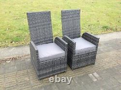 2 Pc Simple Chaise En Rotin Incurlin Gris Avec Coussin De Siège