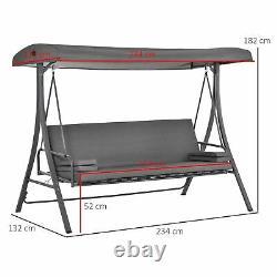 2-en-1 Patio 3 Seater Swing Chair Hammock Avec Coussin Réglable Canopy Garden
