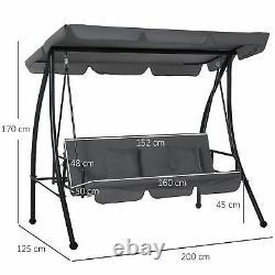 2-en-1 Patio Swing Chair 3 Seater Hammock Cushion Bed Tilt Canopy Garden Grey