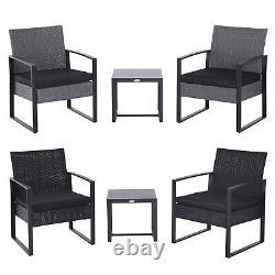 3 Pièces Rattan Set De Table Patio Bistro Chaise Conversation Set Avec Coussin
