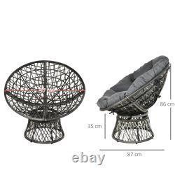 360° Swivel Rattan Papasan Moon Bowl Chaise Ronde En Plein Air Avec Coussin Rembourré