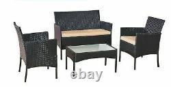4 Pc Ensemble De Meubles De Jardin Rattan Avec Chaises Et Table En Noir/ Brun/ Gris