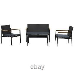 4 Pcs Pe Rattan Meubles Set Avec 3 Chaises Coussinées En Verre Table De Table Gris