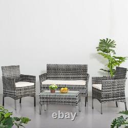 4 Pièces Rattan Garden Meubles Set Chaise Mixgrey Wicker Table De Canapé En Coussin