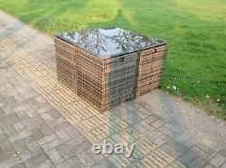 4 Places Rattan Cube Square Dining Table Chair Set Grey Mixed Patio Furniture