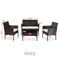4pc Rattan Garden Patio Meubles Ensemble Extérieur 2 Chaises 1 Canapé Et Table À Café