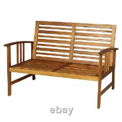 4pcs Acacia Wood Outdoor 4-seater Table Chair Set Chat Avec Coussins Patio Garden