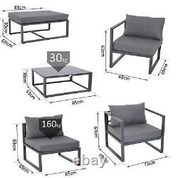 5 Chaises De Sofa D'angle De Siège Grand Jardin Ensemble Meubles Extérieurs De Patio De Table Basse
