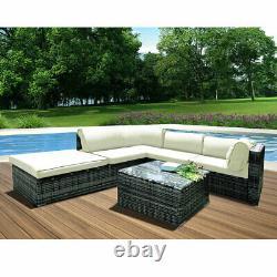 5 Seater Rattan Garden Corner Canapé Table Chaise Meubles Set Patio Conservatoire