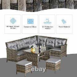 6 Pc Patio Wicker Corner Dining Set Rattan Chair Stool Table Set Amorti Gris