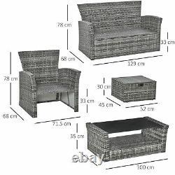 6 Pcs Extérieur Patio Meubles Wicker Chaise Ensemble Table De Café Avec Coussins