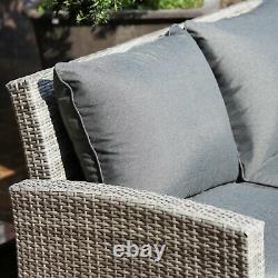 6 Pcs Rattan Dining Set Outdoor Garden Patio Coussin Sofa Footstool Furniture