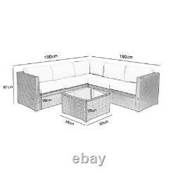 6 Places Rattan Garden Corner Sofa Table & Chaise Meubles Ensemble Salon Extérieur