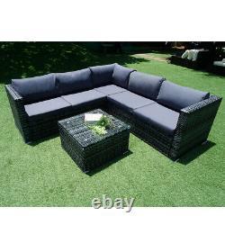 6 Seater Rattan Garden Corner Canapé Table Chaise Meubles Ensemble Salon D'extérieur