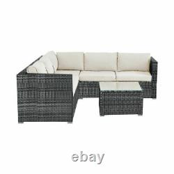 6 Seater Rattan Garden Corner Canapé Table & Chaise Meubles Ensemble Salon Extérieur